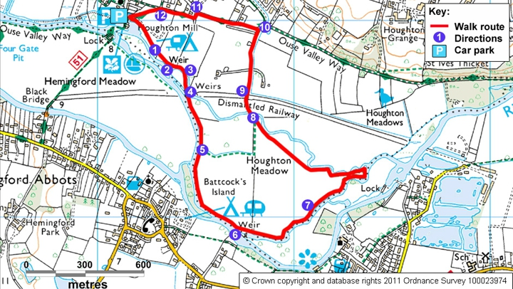 Houghton Meadows walk map