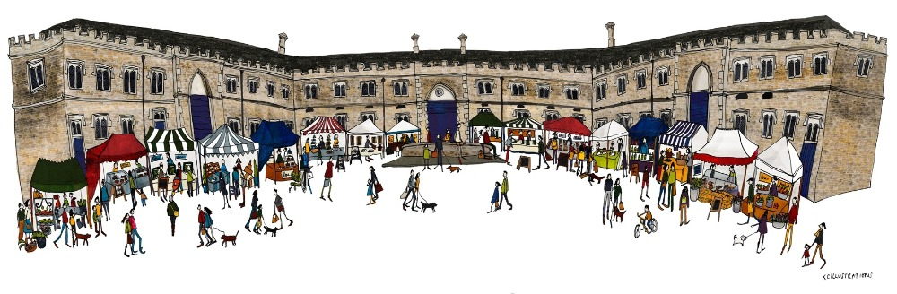 illustration of a Christmas market