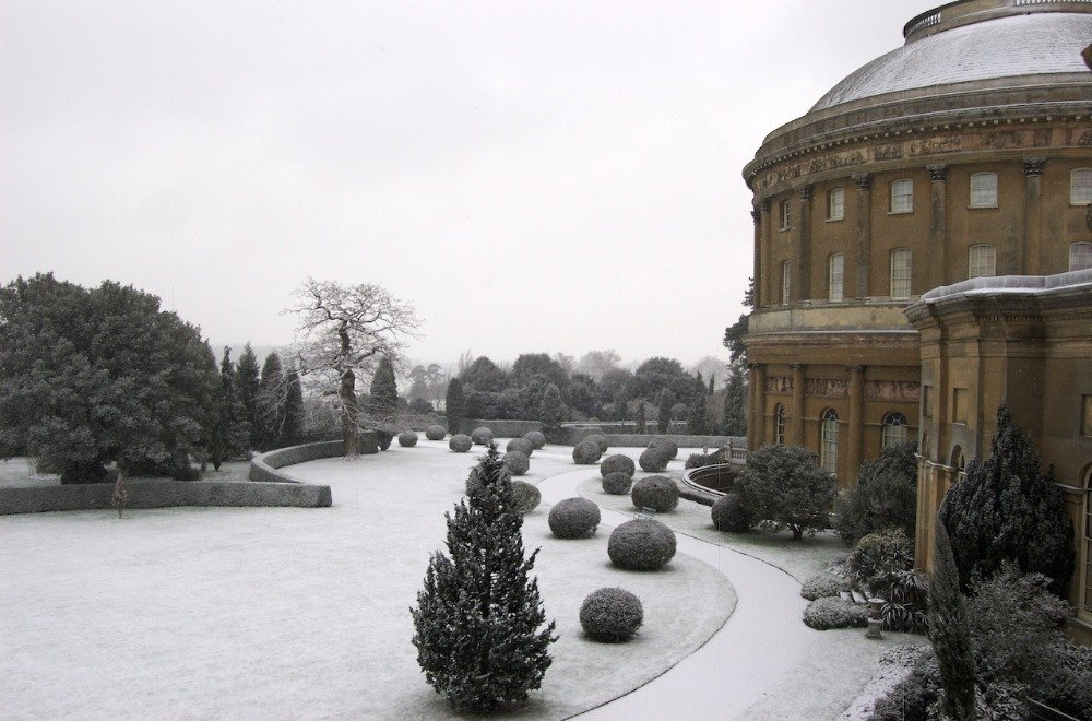 national trust house Ickworth in the snow
