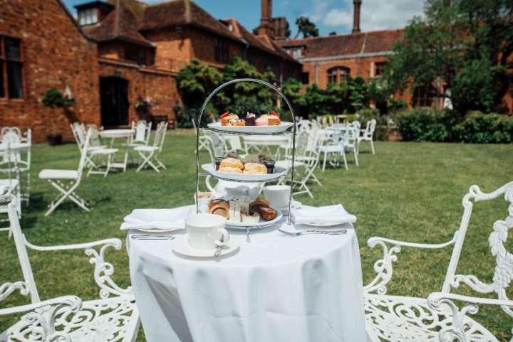 afternoon tea in the garden at Seckford Hall