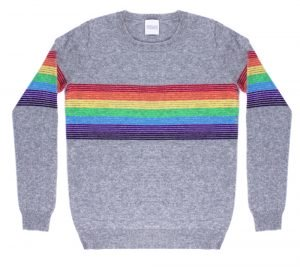 cashmere jumper with rainbow pattern