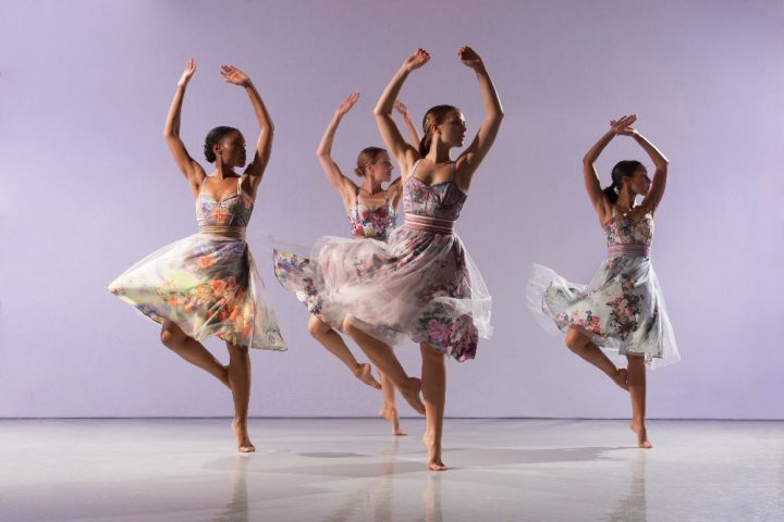 contemporary dancers on a purple background