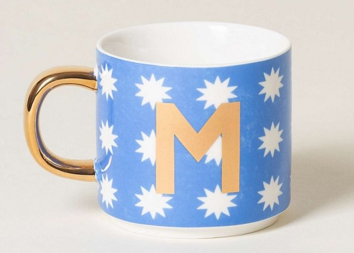 blue mug with stars on
